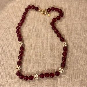 J. Crew red glass bead necklace